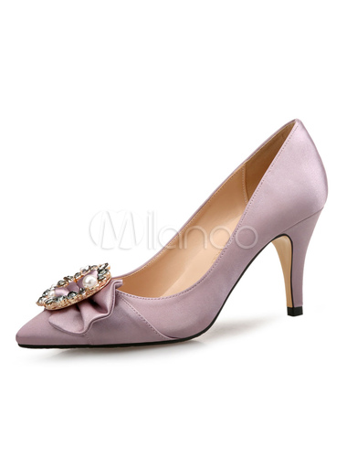 Women High Heels Satin Pointed Toe Bow Rhinestones Evening