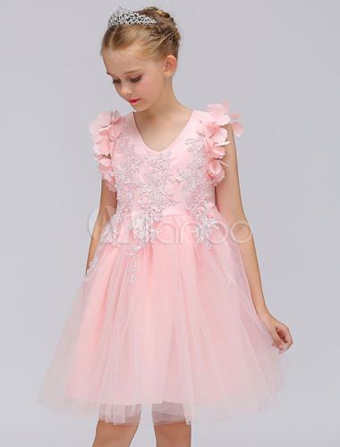 Rosa Blumen-Mädchen kleidet Spitze Applique Sleeveless V-Ausschnitt ...