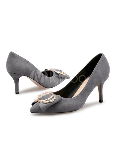 Zapatos de tacón de puntera puntiaguada Piel sintética Color liso con lazo de tacón de stiletto ggfF5