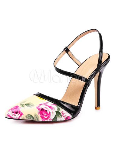 Zapatos de tacón alto con estampado floral de tacones altos de mujer 4rl3xh