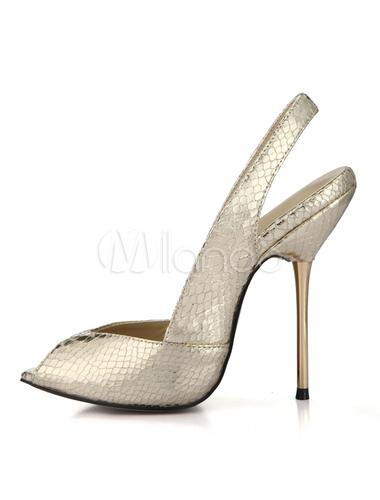 Tacones altos Peep Toe serpiente modelo Slingbacks de las mujeres IBQhrRUlXT