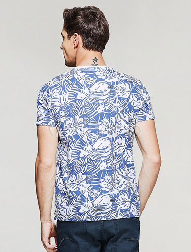 4ba6ee304c5 ... Men Hawaii Tee Floral Print Round Neck Short Sleeve Blue Summer Top  Beach T Shirt Cotton