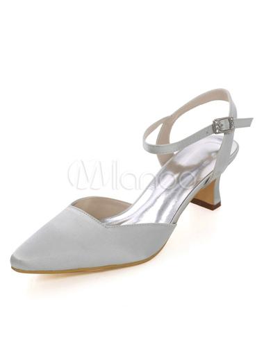 Zapatos de tacón gordo de puntera cuadrada de seda sintética elegantes Fiesta de bodas NF43dIN