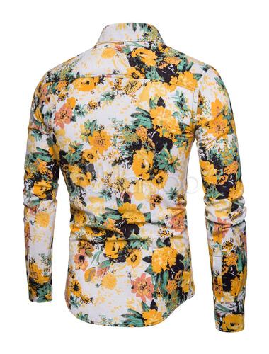 beaucoup de styles regarder répliques Chemise casual jaune Hawaii 2019 Chemise homme 2019 lin plage Chemise  Manches longues