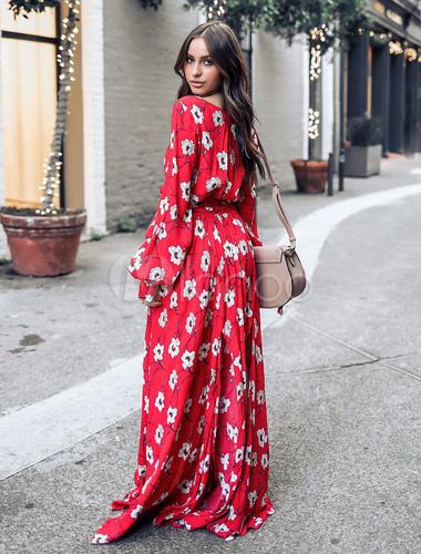 c251f836b48 ... Robe longue 2019 Robe rouge Maxi Femme Floral Robe col en V à manches  longues en