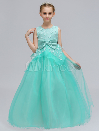 Flower Girl Dresses Mint Green Tulle Lace Bows A Line Sleeveless Floor Length Kids Pageant Dresses