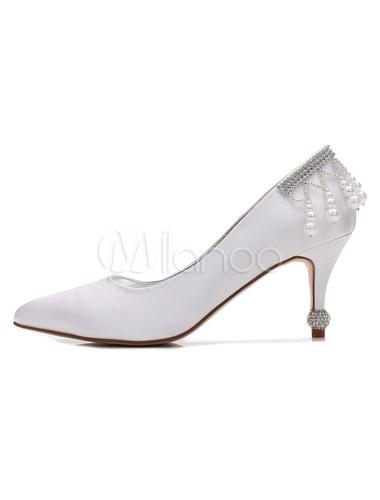 Zapatos de tacón de stiletto de puntera puntiaguada de satén blancos de lujo Fiesta de bodas meOnxdEiAF