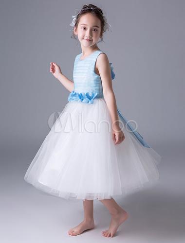 Blaue Blumen-Mädchen kleidet Prinzessin-Festzug-Kleid ...
