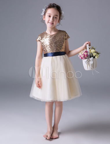 Blumen-Mädchen kleidet Pailletten-Elfenbein-Band-Schärpe-Kurzschluss ...