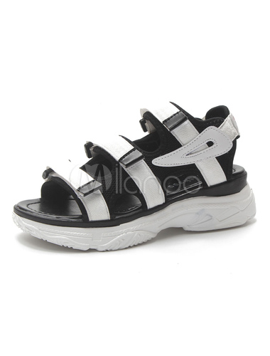 Toe Flatform Open Femme Sandales Velcro Détail Noir Sport OXZkPTiu
