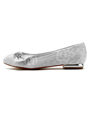 5a180e70b Ivory Wedding Shoes Lace Round Toe Rhinestones Flat Mother Shoes Wedding  Guest Shoes-No.