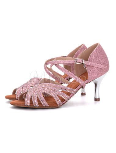 Zapatos de salón de baile 2018Champagne Glitter Peep Toe Criss Cross Zapatos de baile latino Salsa Zapatos de baile t8cEjTGp