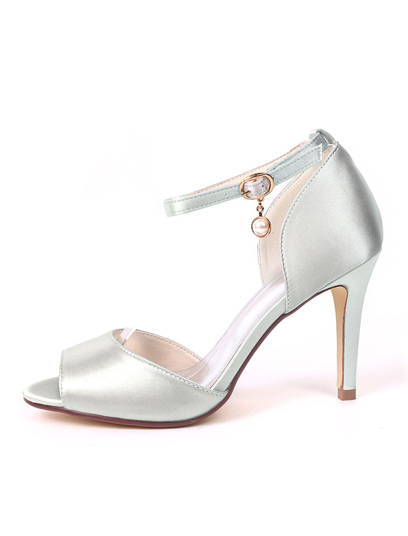49251e620c3b Women High Heels Satin Peep Toe Ankle Strap Wedding Shoes Ink Blue Pearls  Mother Shoes- ...