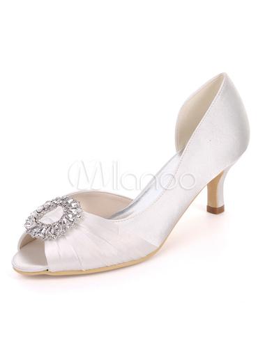 9f4cf7eb3d2 Mother Of The Bride Shoes Satin Peep Toe Rhinestones Wedding Guest Shoes  Kitten Heel Wedding Shoes