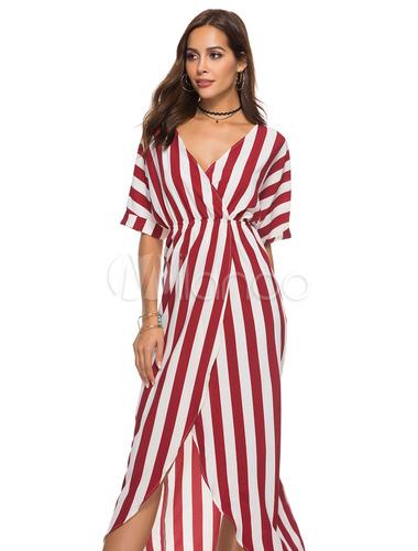 4cbced7ee4 Vestido Maxi Listrado Com Decote Em V Manga Curta Alta Baixo Vestido Longo -No.