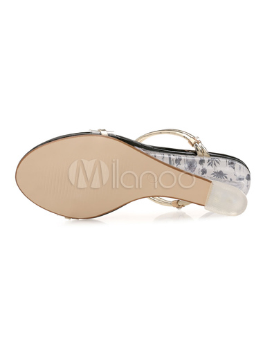 1f59624b08e1 Gold Wedge Sandals Women Shoes Open Toe Slide Sandals - Milanoo.com