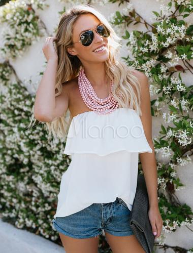 823b62d276ae62 White Chiffon Blouse Strapless Sleeveless Women Bardot Top - Milanoo.com