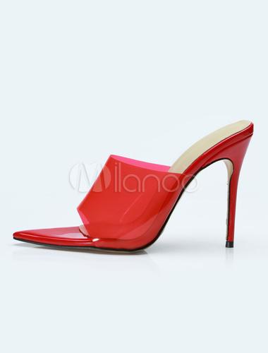 Zapatos Sandalias Punta De Aguja Tacón Sandalia Rojo Abierta Transparente Alto dxotBrshQC
