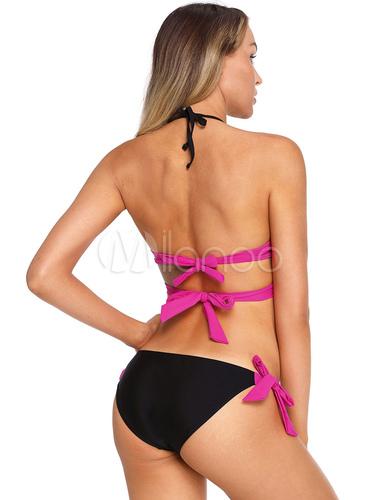 0315f561d32 Sexy Bikini Swimwear Halter Knotted Two Tone String Bikini - Milanoo.com