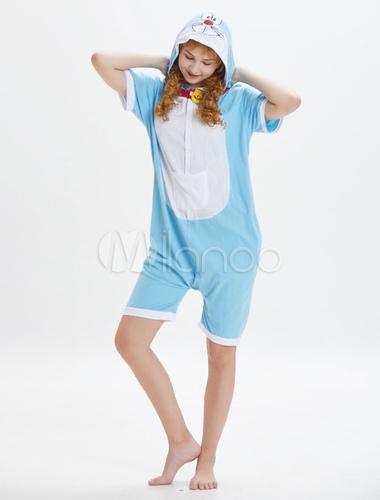 d66fafc36c49 Doraemon Onesie Kigurumi Pajamas Adult Blue Short Jumpsuits Unisex Hooded  Animal Sleepwear Halloween-No.