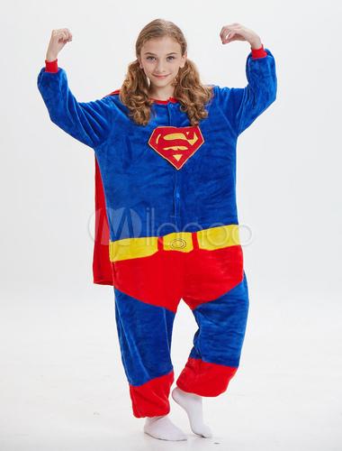 ... Дети Супермен Kigurumi Onesie Pajamas Deep Blue Flannel Длинные комбинезоны  Unisex Animal Sleepwear Halloween-No ... 49af485b9f304