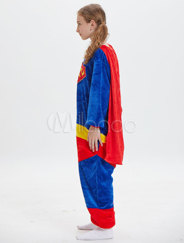 43c216dc3c ... Kids Superman Kigurumi Onesie Pajamas Deep Blue Flannel Long Jumpsuits  Unisex Animal Sleepwear Halloween-No ...