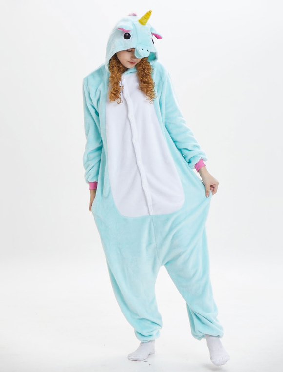 81bf2f427 ... Unicorn Kigurumi Pajamas Onesie Flannel Mint Green Long Jumpsuits Adult  Unisex Animal Sleepwear Halloween-No ...