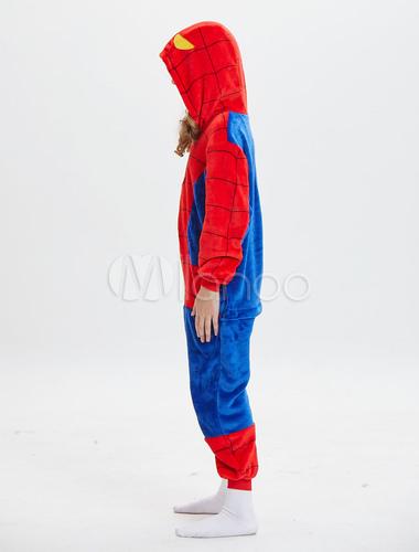 b98c13b58ec5 Kids Spiderman Kigurumi Onesie Pajamas Red Hooded Jumpsuits Long Unisex  Animal Sleepwear Halloween-No.
