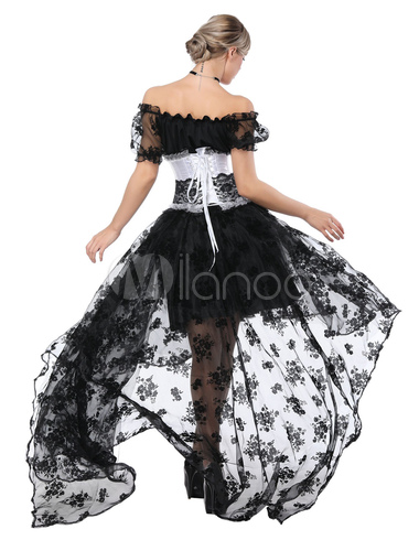 5332c7d243b ... Halloween Costume Gothic Women Black Lace High Low Skirt Corset And Top  3 Piece-No ...