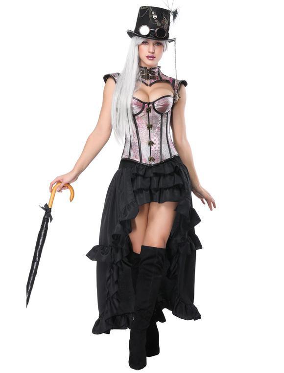 karneval steampunk kostum frauen rosa tiered ruschen rock und korsett no 3