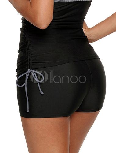 dc6f5d1ef0 Women Black Swim Bottoms High Waist Swim Shorts - Milanoo.com