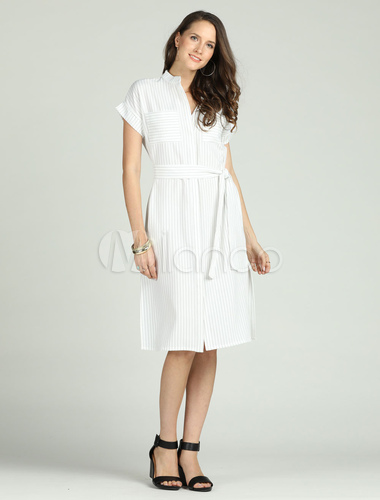 Robe Chemisier Courte Manches Mi longues à Rayures: