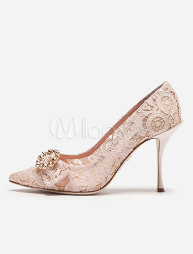 2e5c6286f ... Lace Wedding Shoes Pointed Toe Rhinestone Slip On Rose Red Stiletto  High Heel Bridal Pumps- ...