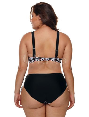 66cfcffe4f67e Plus Size Swimsuit Black Flag Print Two Piece Bathing Suit - Milanoo.com