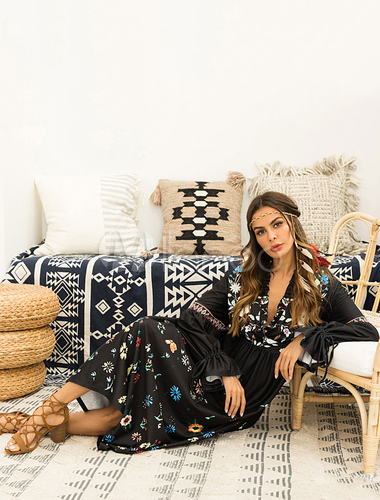 438bce007b6 ... Black Boho Dress Floral Maxi Dress Long Sleeve Plunging Fall Dress-No.3  ...