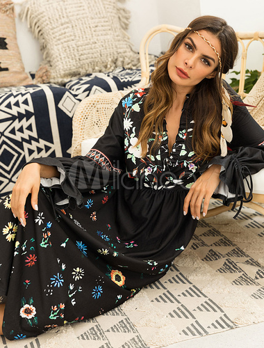 38504b4b2ba ... Black Boho Dress Floral Maxi Dress Long Sleeve Plunging Fall Dress-No.4  ...