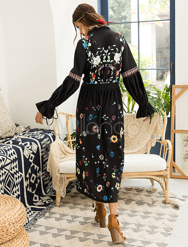 9bd6c393332 ... Black Boho Dress Floral Maxi Dress Long Sleeve Plunging Fall Dress-No.5