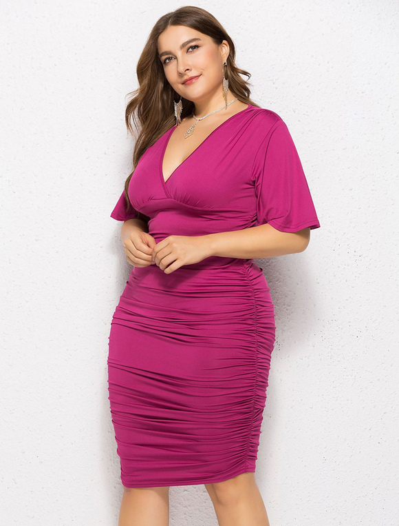 Plus Size Bodycon Dress V Neck Flared Sleeve Ruched Midi Dress