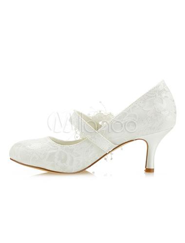 Vintage Hochzeit Schuhe Spitze Runde Kappe Blumen Perlen Mary Jane