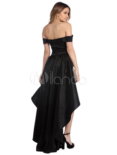 ... Women Skater Dress Off The Shoulder Party Dress Short Sleeve High Low  Evening Dress-No ... 4ea4bf58c