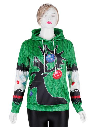 Super carino 50146 8717f Felpe natalizie con cappuccio 3D Stampa con coulisse verde con cappuccio