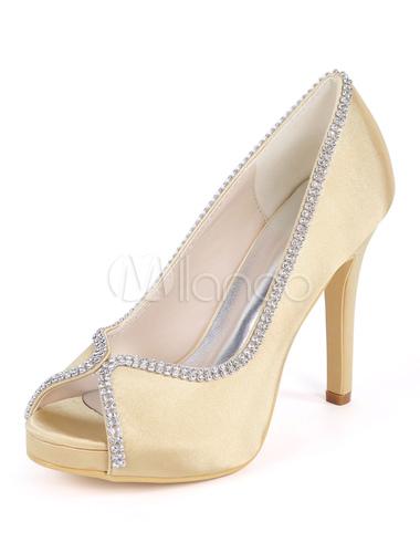dove comprare ampia selezione scelta migliore Scarpe da sposa champagne scarpe da ballo in raso con tacco a punta e  strass. Scarpe da damigella