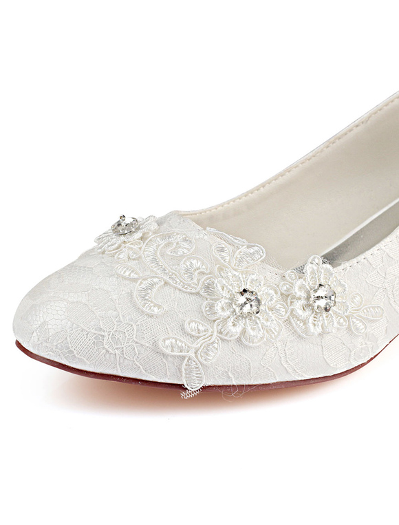 e7d7dcb87 ... Ivory Wedding Shoes Lace Round Toe Rhinestones Slip On Wedding Guest  Shoes Kitten Heel Mother Shoes