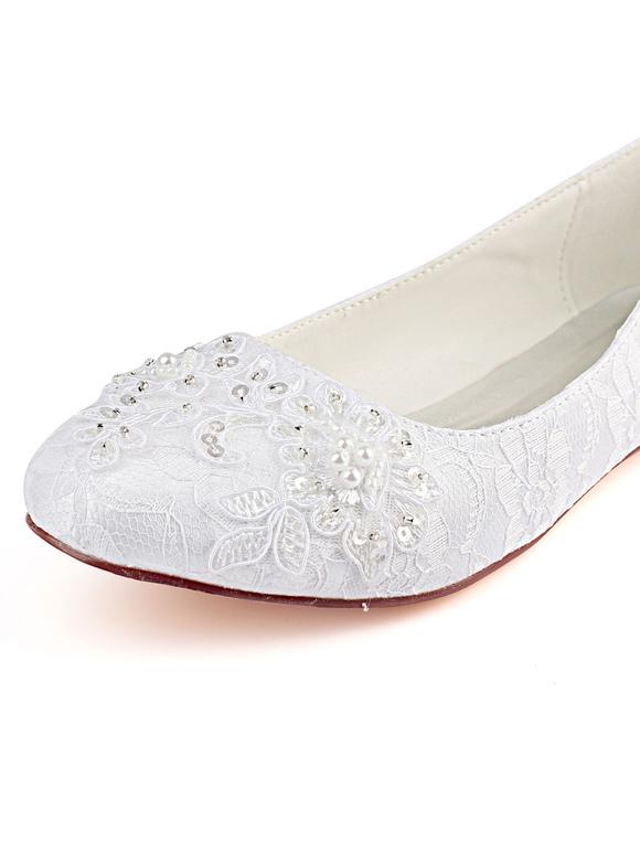 promo code d96f8 df51a Spitze Hochzeit Schuhe Weiß Runde Toe Strass Perlen Flache Mutter Schuhe