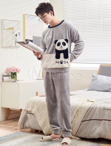 codice promozionale f4232 dce13 Pigiama uomo Set Panda Flannel Grigio Manica lunga da salotto invernale
