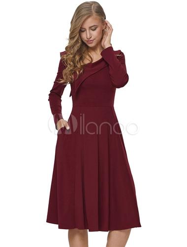 e4594c4a5e3 Женское красное платье с длинным рукавом Асимметричное дизайнерское платье  для шеи Vintage Party-No.