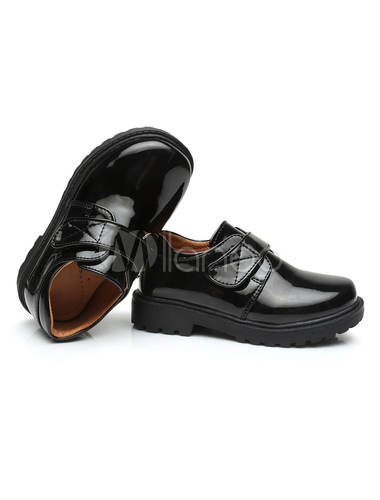Ring Bearer Shoes Black Round Toe Velcro Detail Formal Shoes Boys