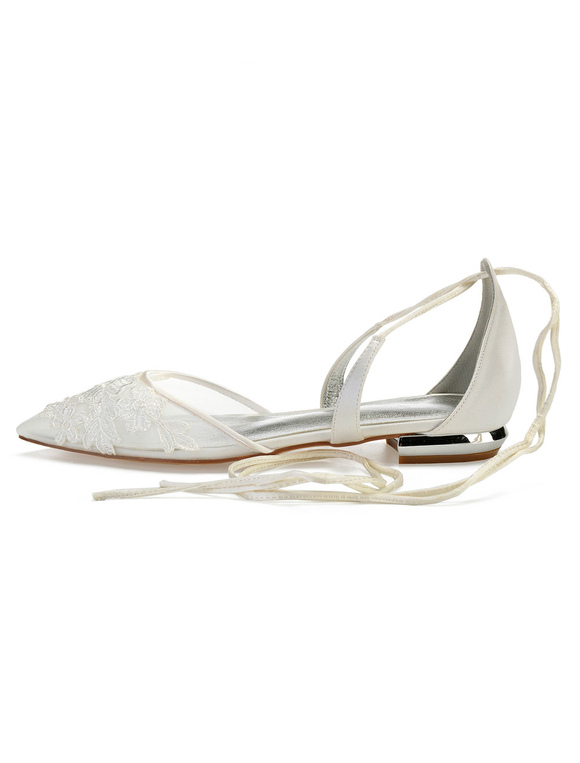 e7f45930aa1 ... Ivory Wedding Shoes Mesh Pointed Toe Floral Detail Lace Up Bridal Shoes  Flat Bridesmaid Shoes-