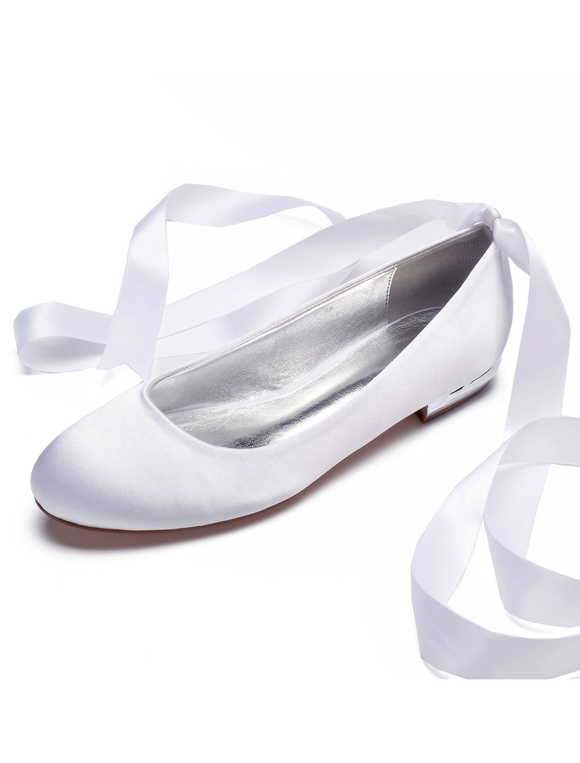 248cce5f73f ... Satin Wedding Shoes Women Round Toe Lace Up Bridesmaid Shoes Silver  Flat Bridal Shoes-No ...