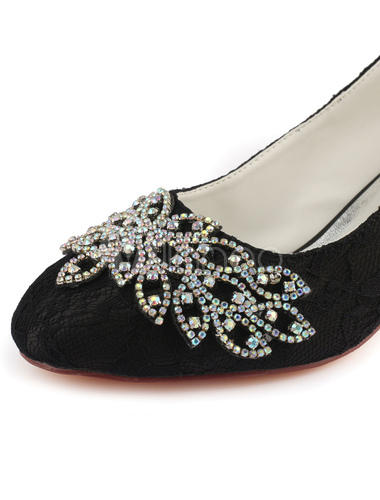 ffe40adc06c02 ... Lace Mother Of Bride Shoes Black Round Toe Rhinestones Chunky Heel  Wedding Guest Shoes-No